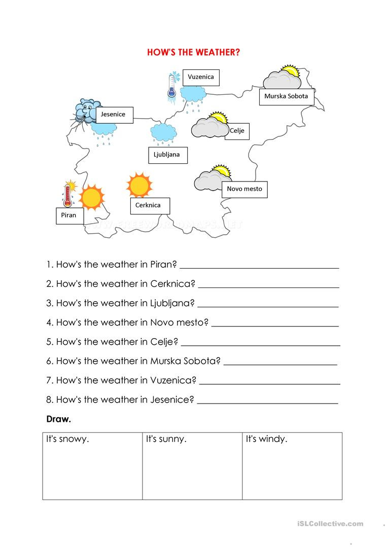 Reading A Weather Map Worksheet How S the Weather Look and Write English Esl Worksheets