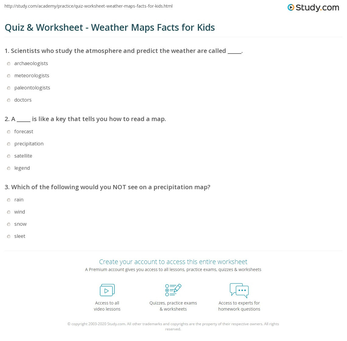 Reading A Weather Map Worksheet Quiz & Worksheet Weather Maps Facts for Kids