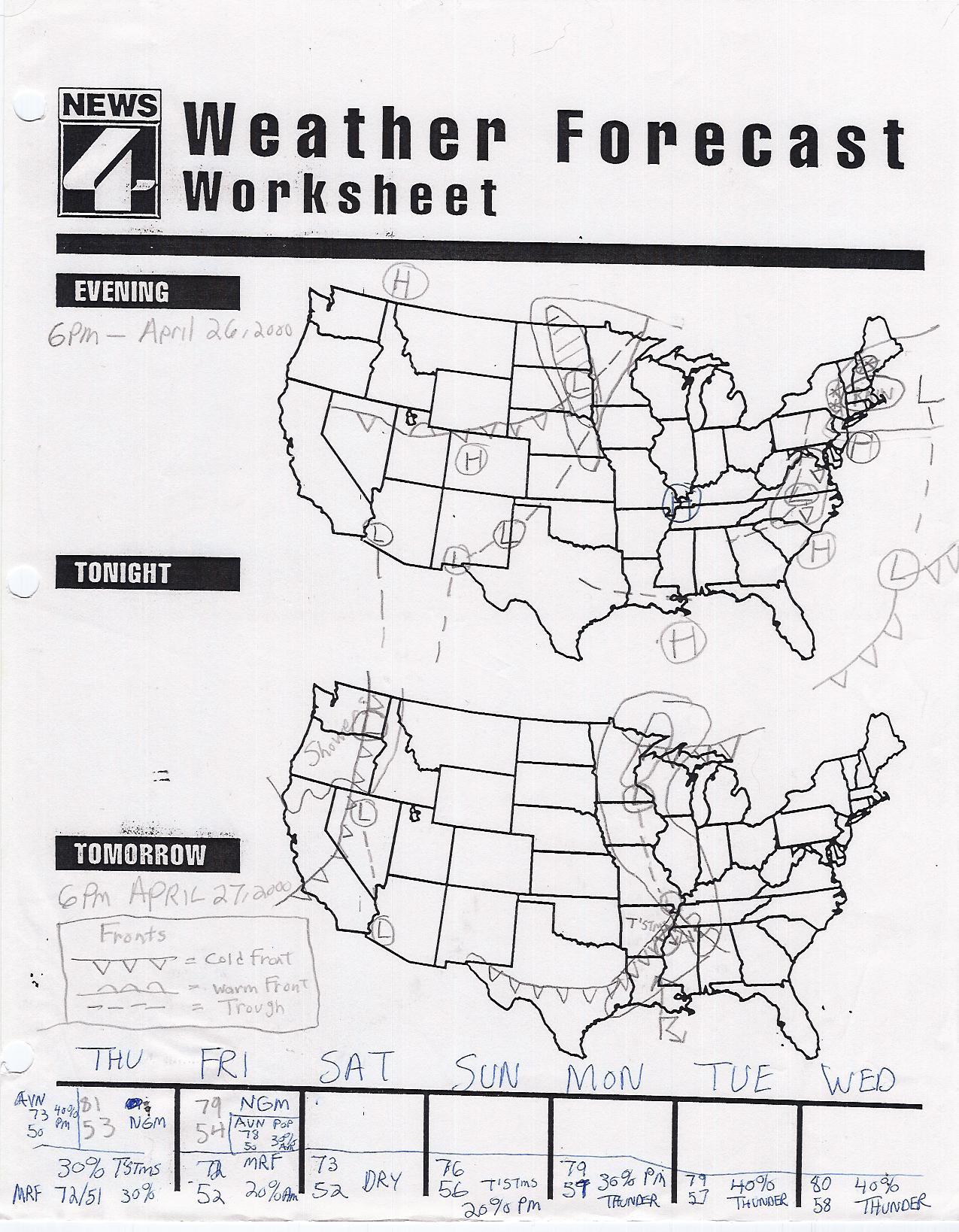 Reading A Weather Map Worksheet Reading A Map Worksheet