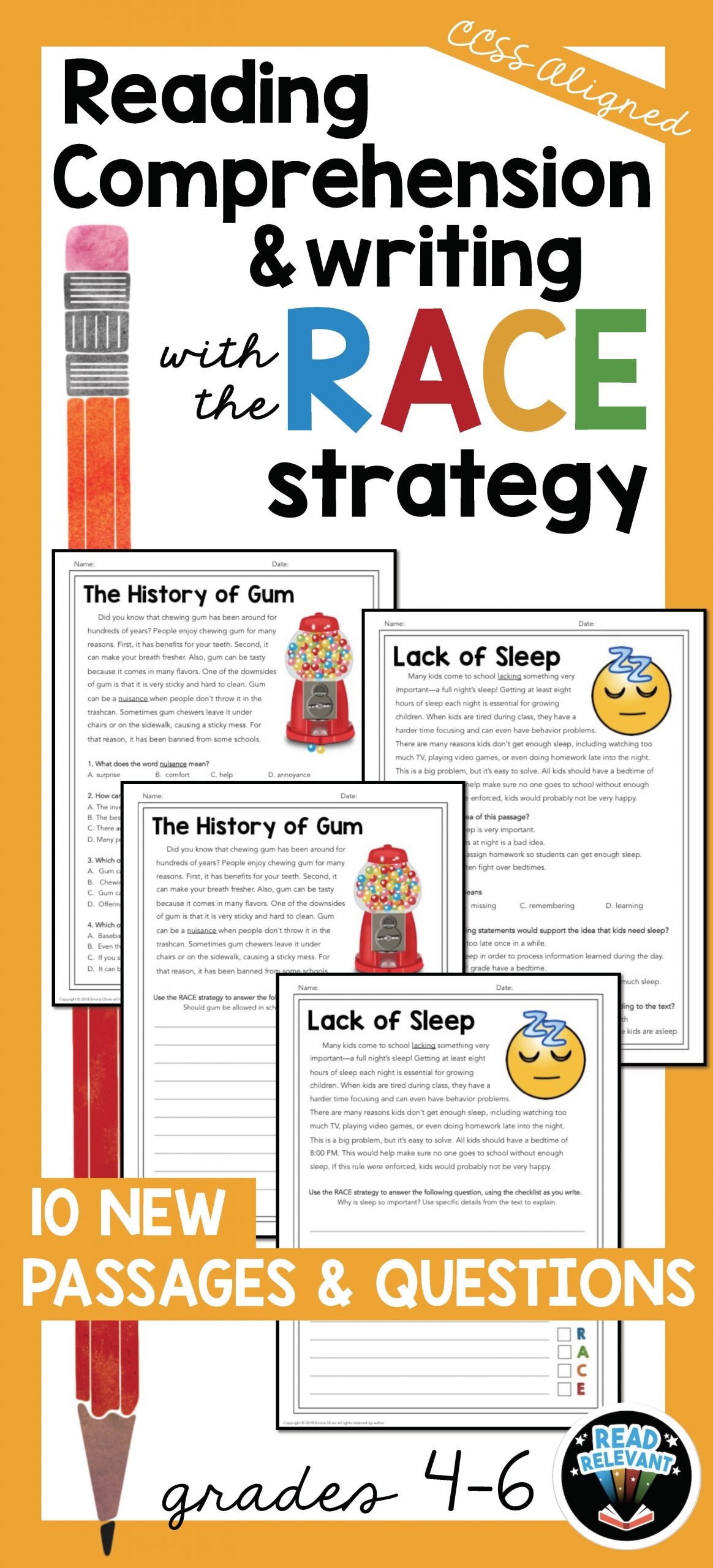 Reading and Responding Worksheets Reading Prehension and Writing with the Race Strategy