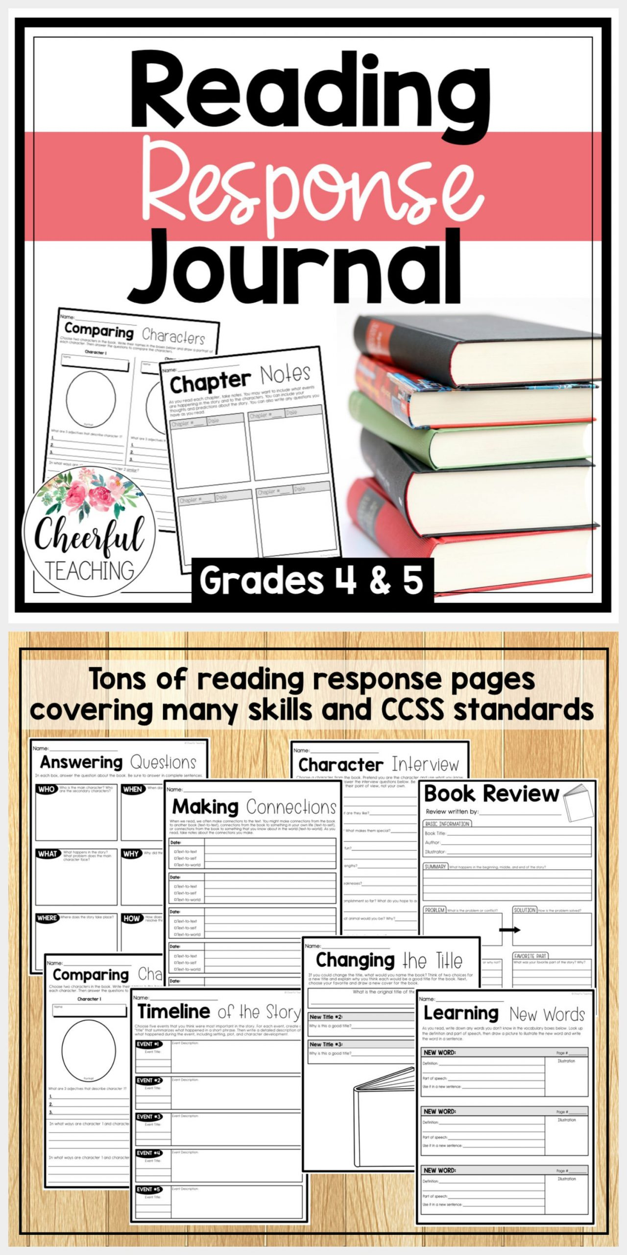 Reading and Responding Worksheets Reading Response Journal for Grades 4 5 Includes tons Of