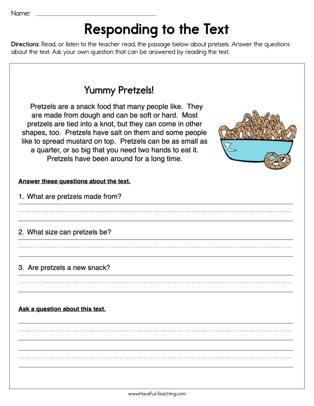 Reading and Responding Worksheets Responding to the Text Worksheet