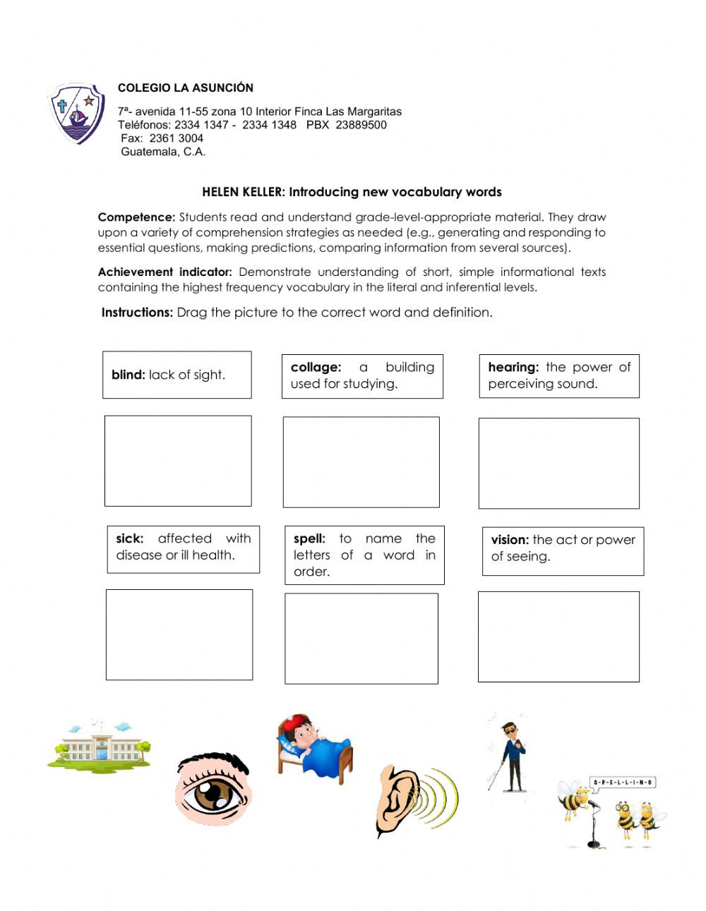 Reading Comprehension Strategies Worksheets Helen Keller Vocabulary Interactive Worksheet