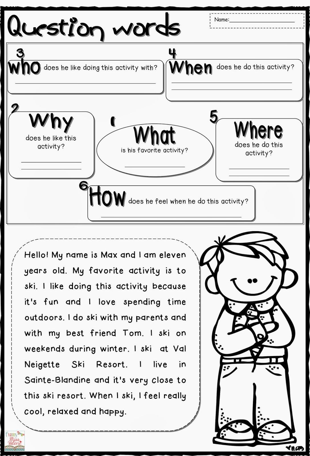 Reading Comprehension Strategies Worksheets Question Words