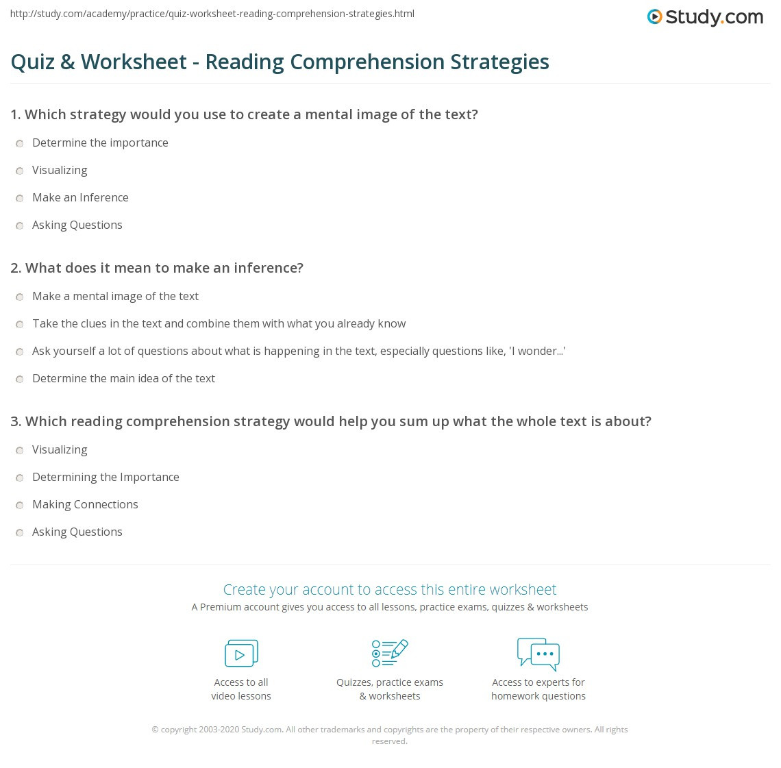 Reading Comprehension Strategies Worksheets Quiz & Worksheet Reading Prehension Strategies