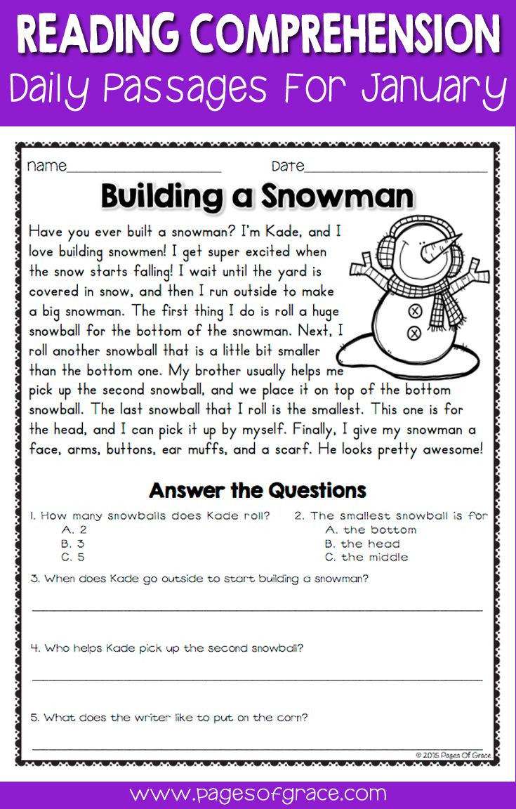 Reading Comprehension Strategies Worksheets Reading Prehension Passages and Questions for January