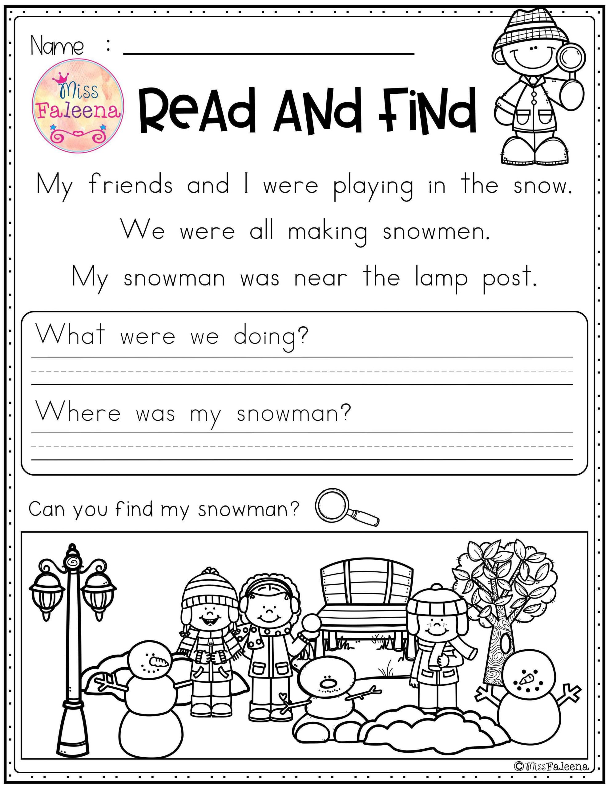Reading Comprehension Strategies Worksheets Winter Reading Prehension Read and Find