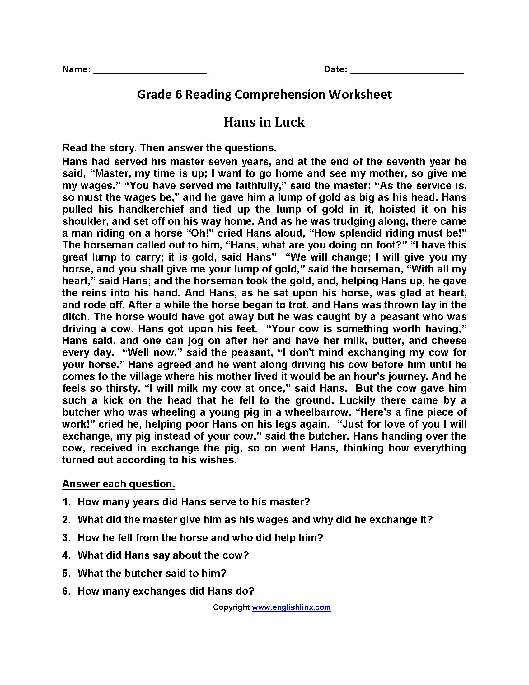 Reading Comprehension Worksheets 6th Grade Free Printable Reading Worksheets for Grade 6 In 2020
