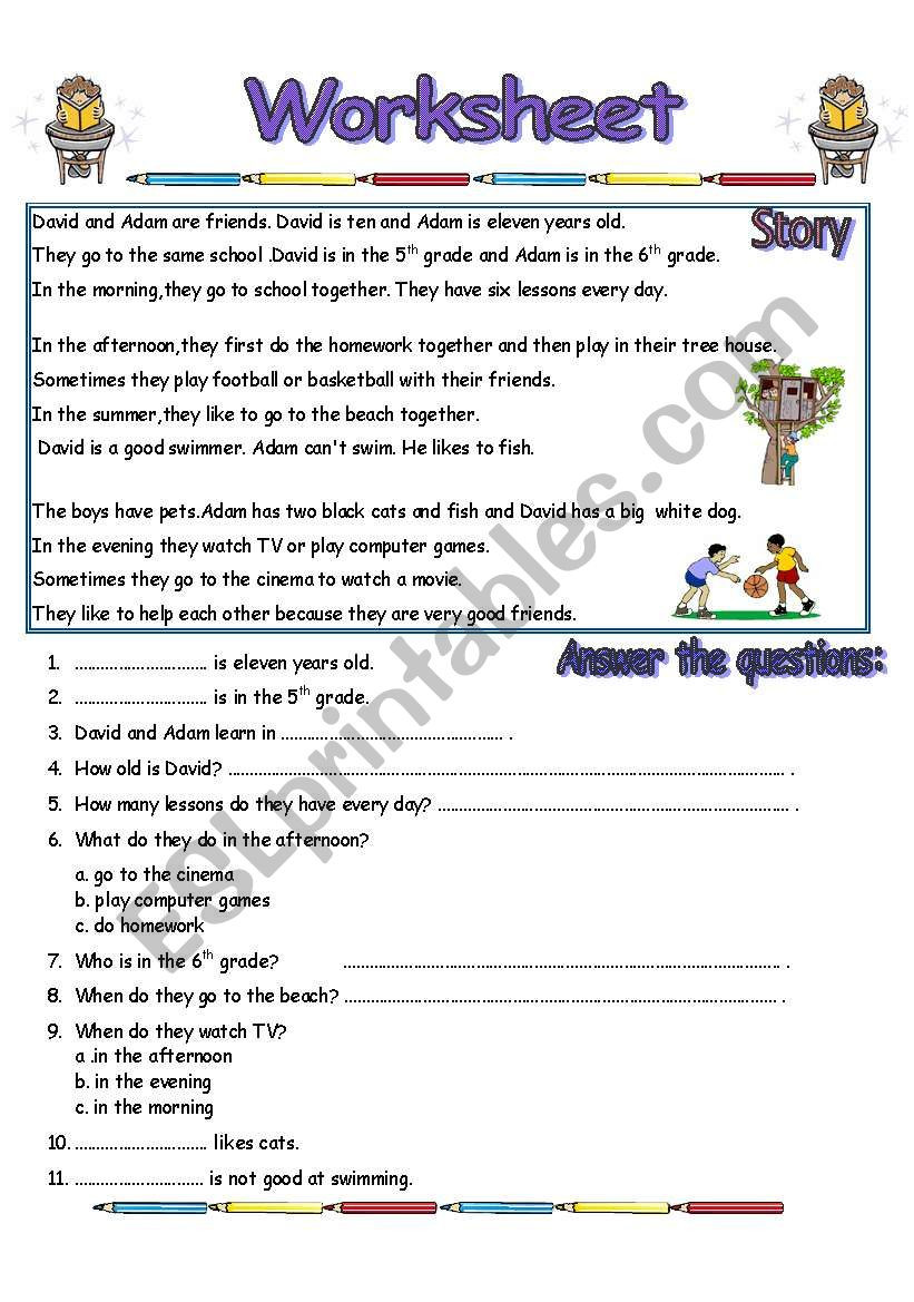 Reading Comprehension Worksheets 6th Grade Reading Prehension Worksheet 2 Pages Esl Worksheet by