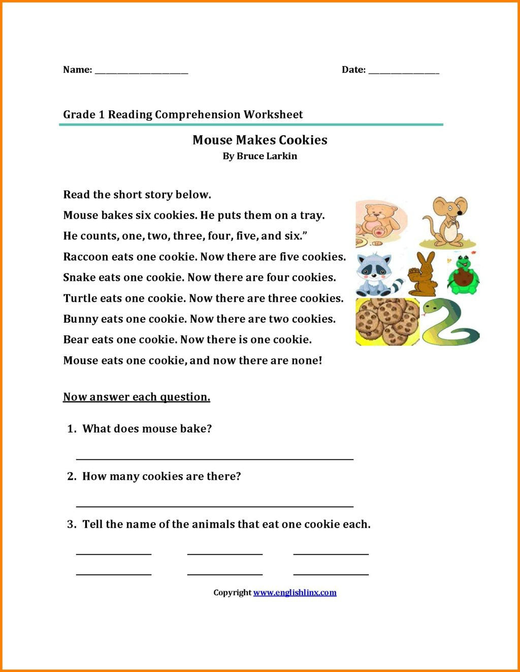 Reading Comprehension Worksheets 6th Grade Worksheet Grade Archives Printable First