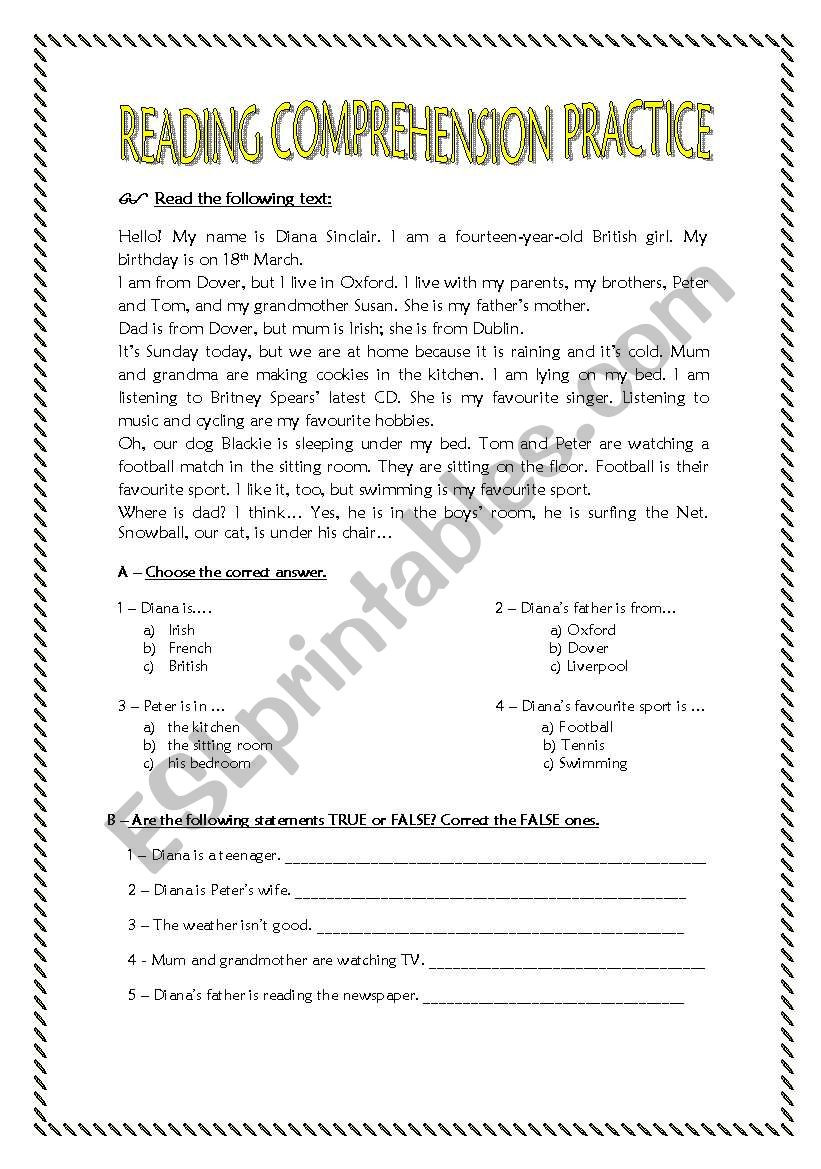 Reading Comprehension Worksheets 7th Grade Reading Prehension Practice for 7th Graders Esl