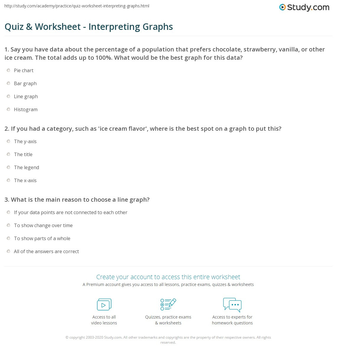 Reading Graphs Worksheets Middle School Quiz & Worksheet Interpreting Graphs