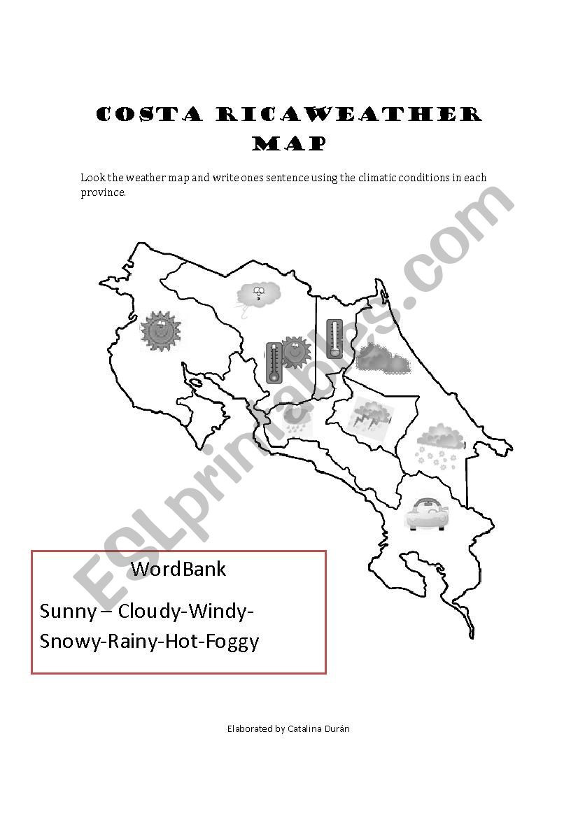 Reading Weather Maps Worksheet Costa Rica Weather Map Esl Worksheet by Catadr15