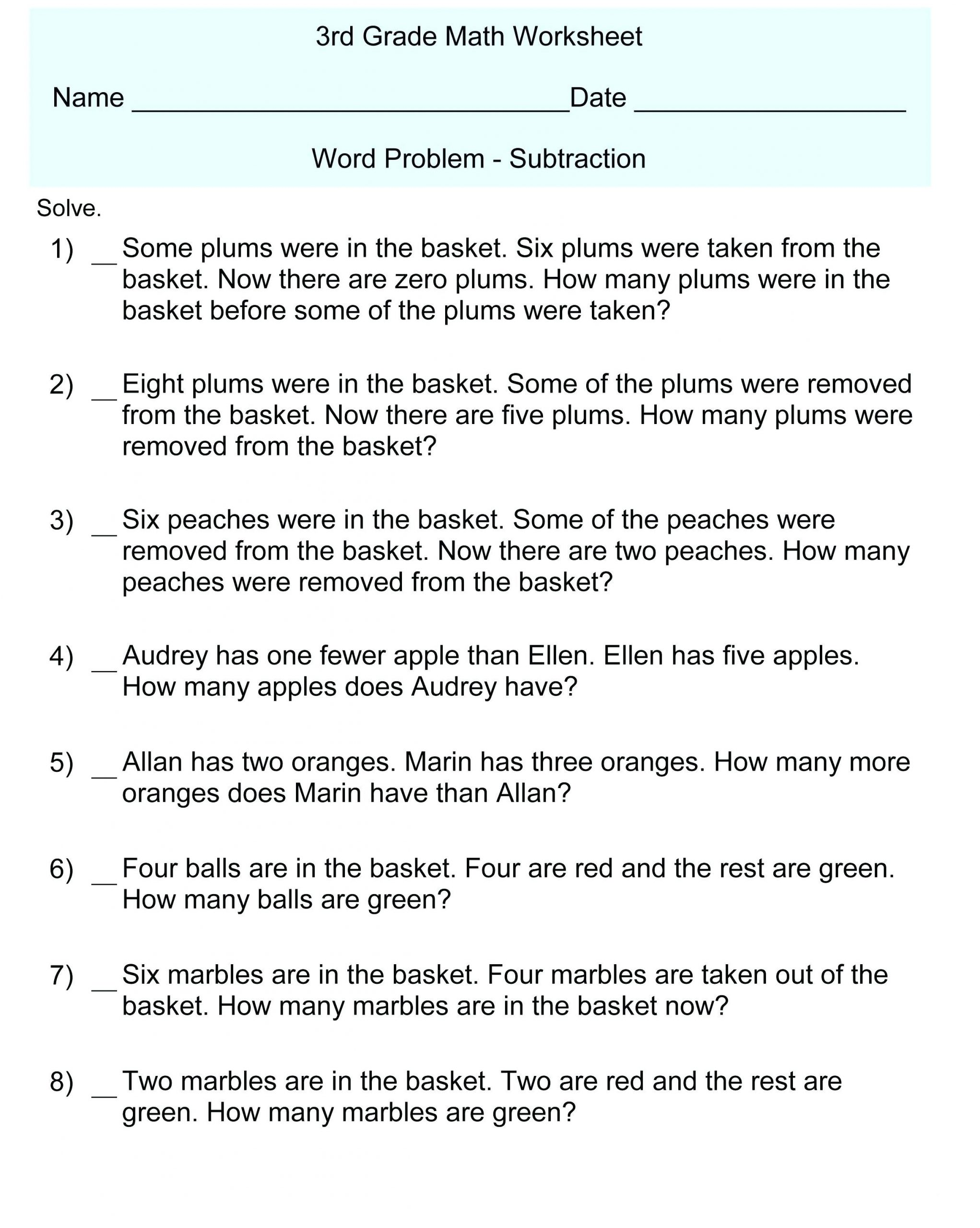 Real World Math Problems Worksheets 3rd Grade Math Word Problems Best Coloring Pages for Kids