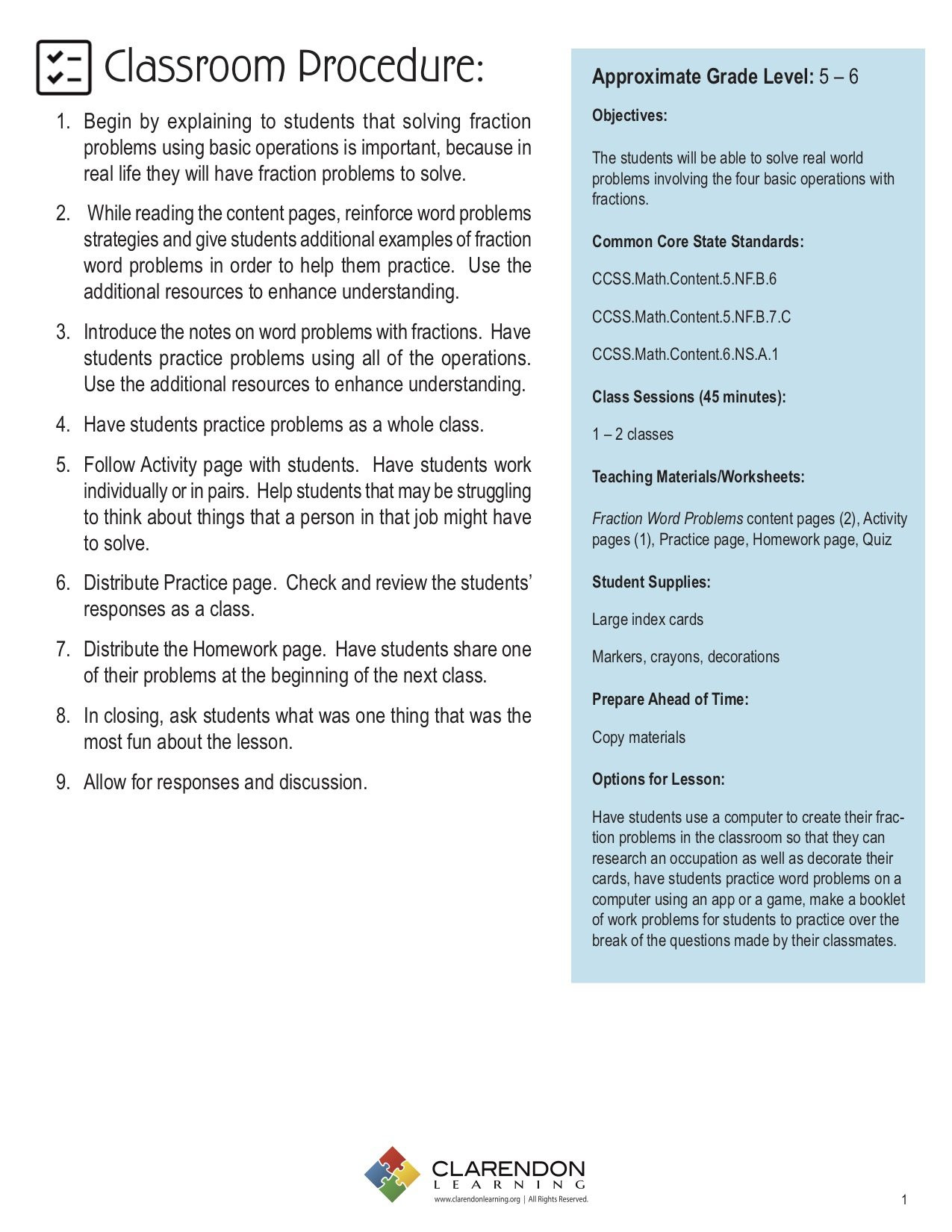 Real World Math Problems Worksheets Fraction Word Problems Lesson Plan