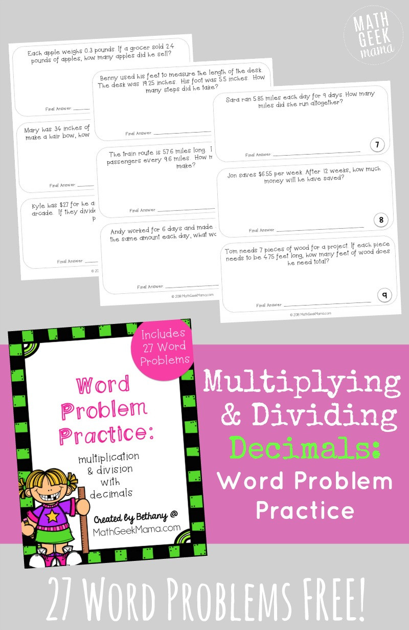 Real World Math Problems Worksheets Free Multiplying Decimals Word Problems Set