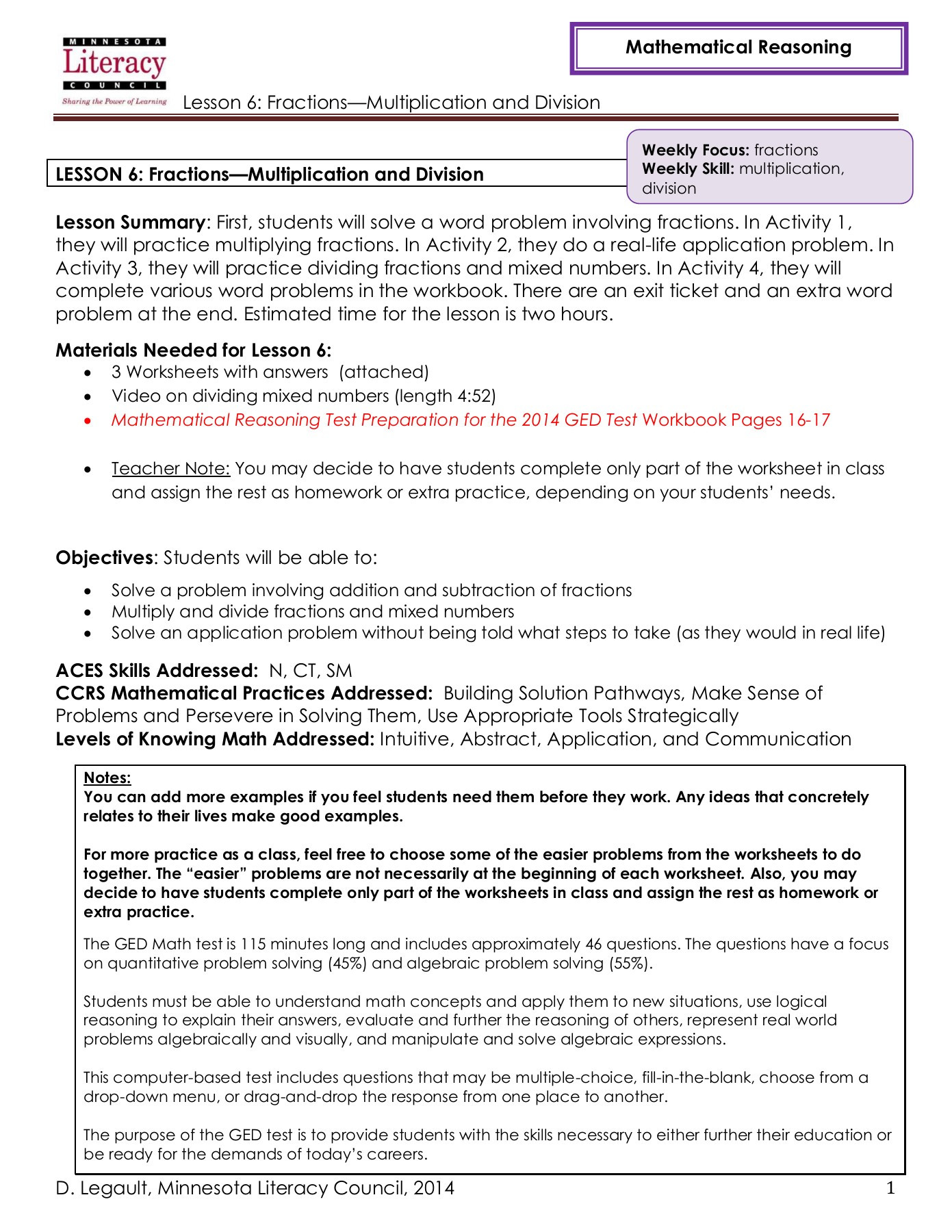 Real World Math Problems Worksheets Lesson 6 Fractions Multiplication and Division Pages 1 12