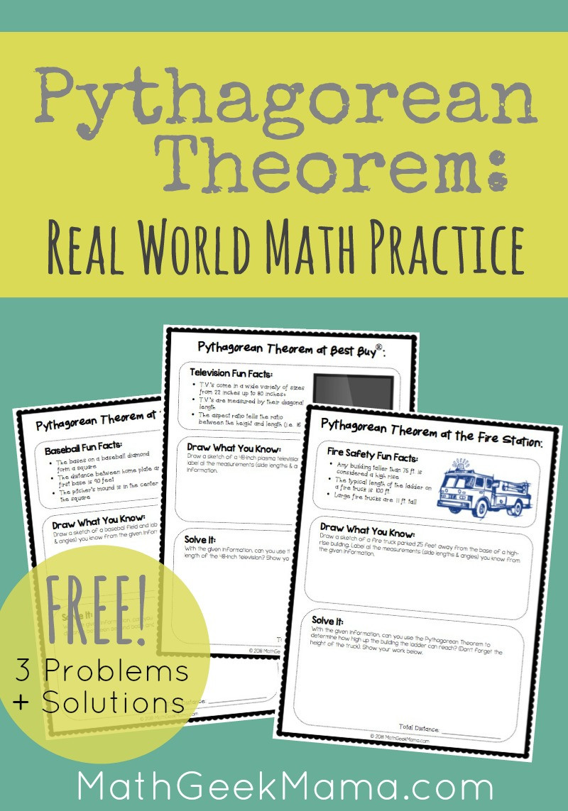 Real World Math Problems Worksheets Real World Pythagorean theorem Practice Free