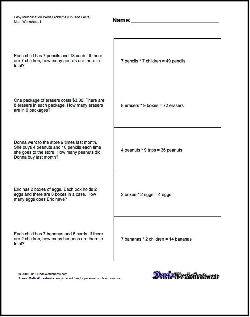 Real World Math Problems Worksheets Word Problems Extra Facts Multiplication Word Problems
