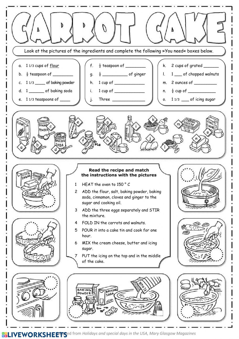 Recipe Reading Comprehension Worksheets Carrot Cake Recipe Interactive Worksheet