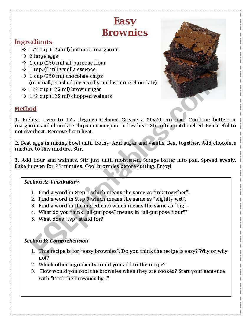 Recipe Reading Comprehension Worksheets Easy Brownies Recipe Prehension Esl Worksheet by Tara Lyn