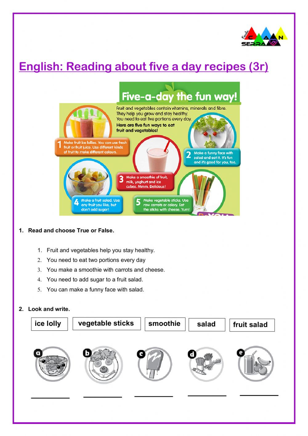 Recipe Reading Comprehension Worksheets Five A Day Reading Prehension Interactive Worksheet