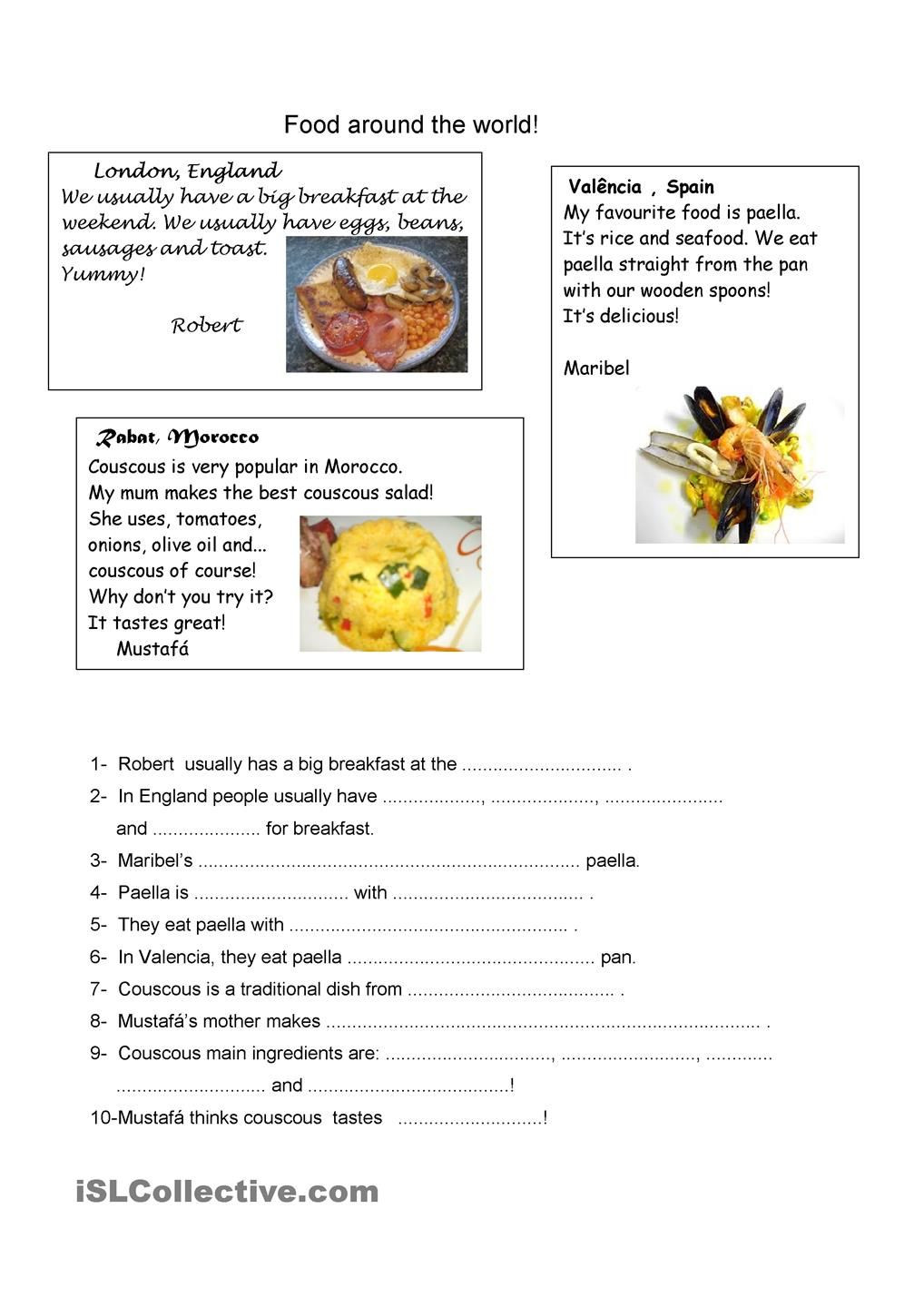Recipe Reading Comprehension Worksheets Food Around the World