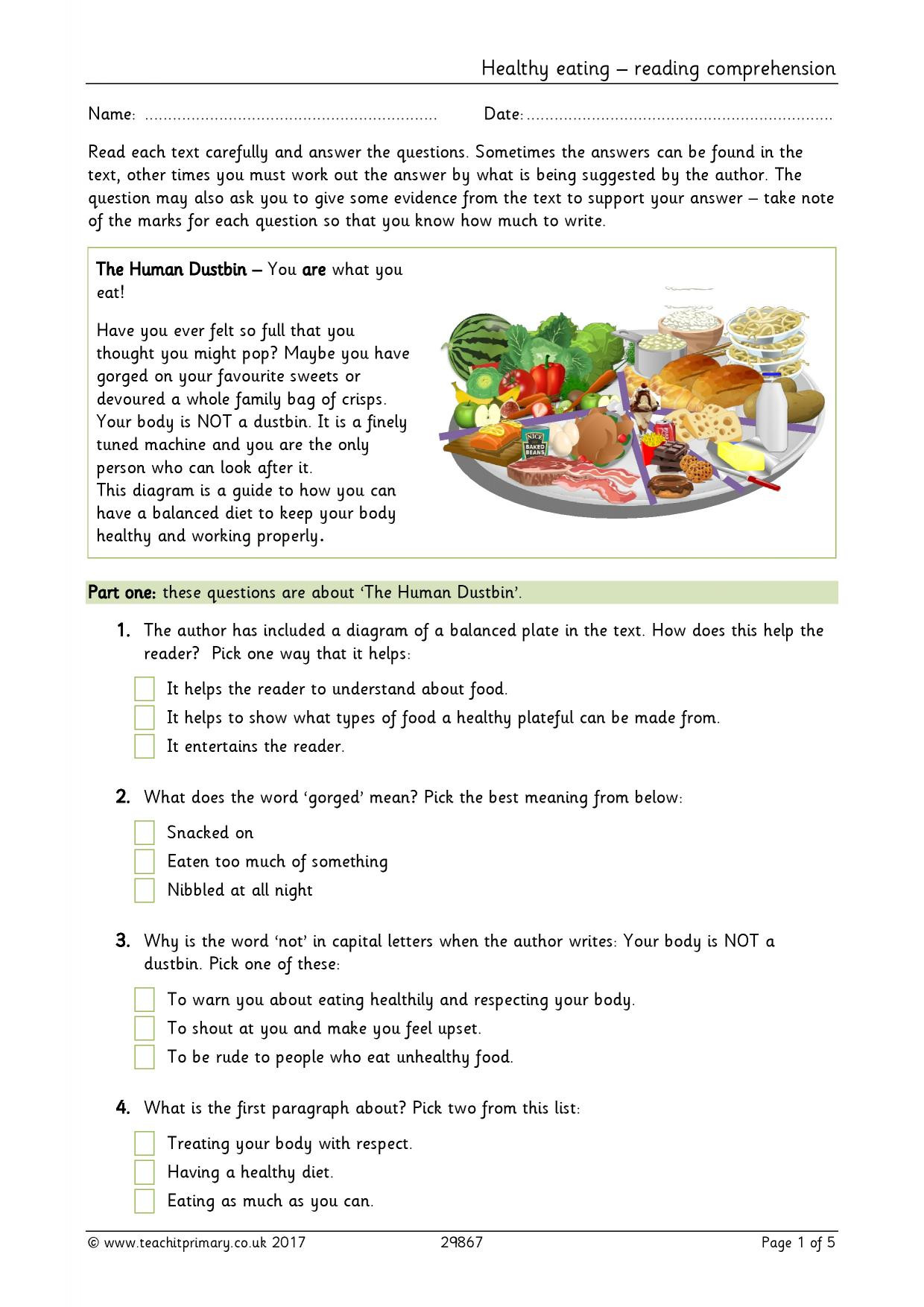 Recipe Reading Comprehension Worksheets Healthy Eating Reading Prehension Food