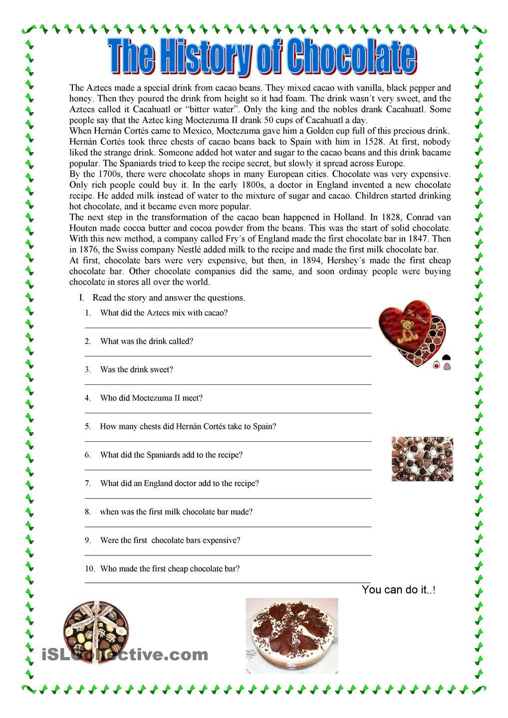 Recipe Reading Comprehension Worksheets Reading Prehension