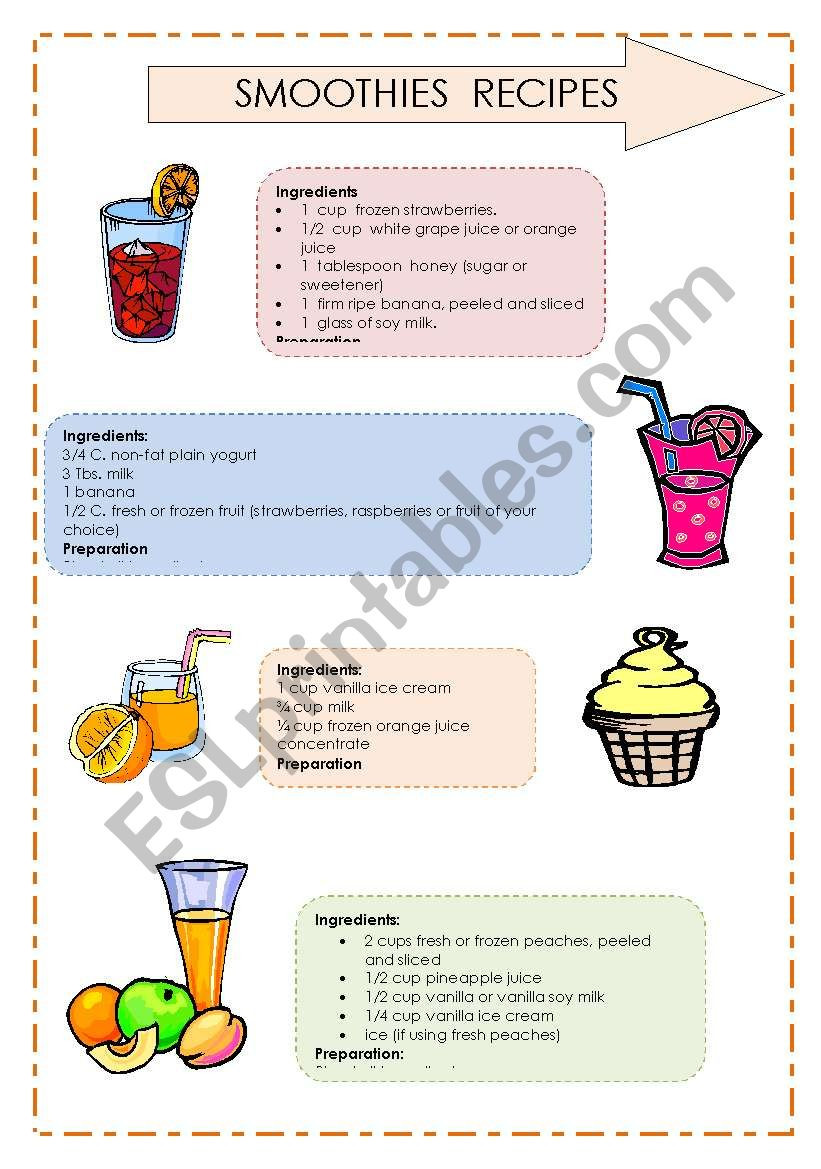 Recipe Reading Comprehension Worksheets Reading Prehension Smoothies´ Recipes 2 2 Esl
