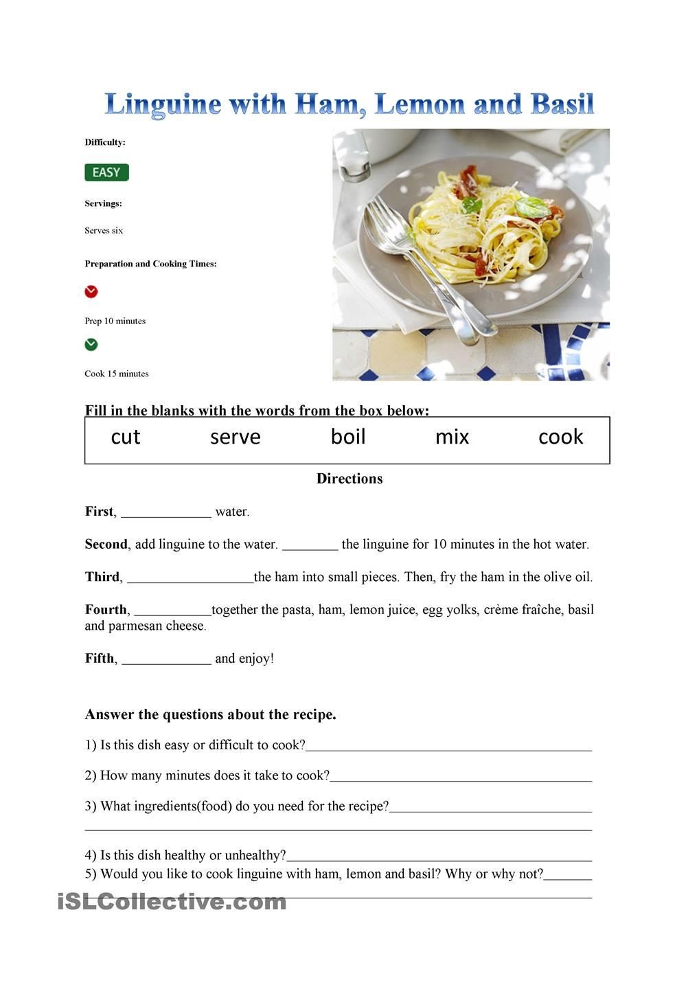 Recipe Reading Comprehension Worksheets Recipe