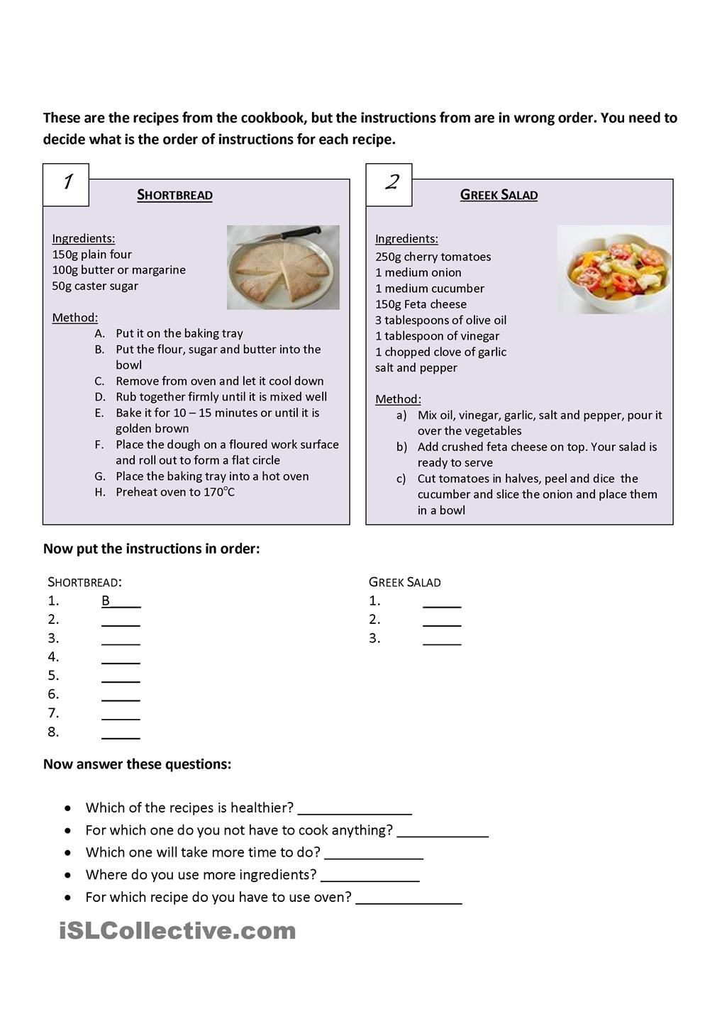 Recipe Reading Comprehension Worksheets Recipes Parision