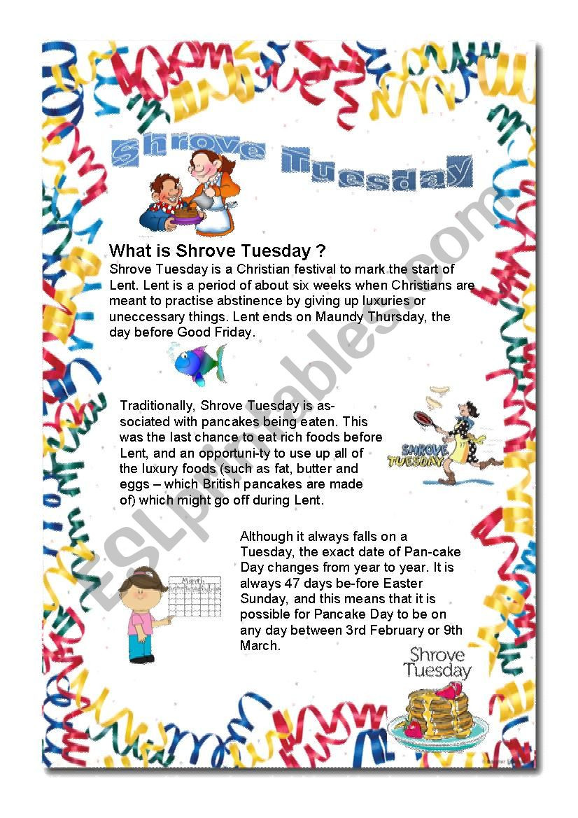 Recipe Reading Comprehension Worksheets Shrove Tuesday Mardi Gras Reading Prehension Crepe