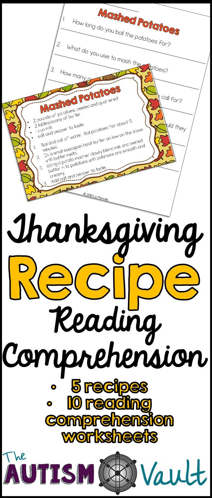 Recipe Reading Comprehension Worksheets Thanksgiving Recipe Reading Prehension