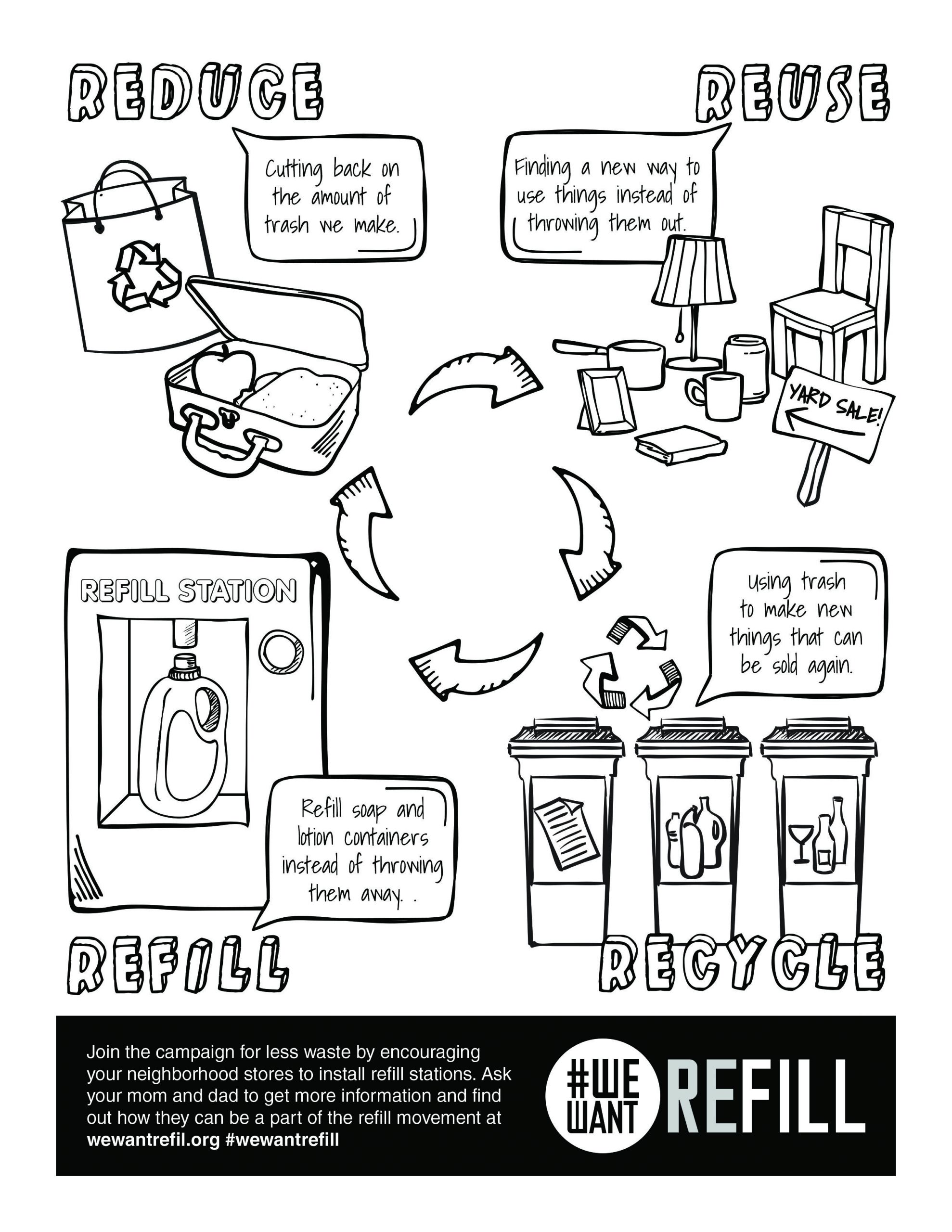 Recycling Worksheets for Preschoolers Free Downloadable Coloring Page for Kids We Want Refill