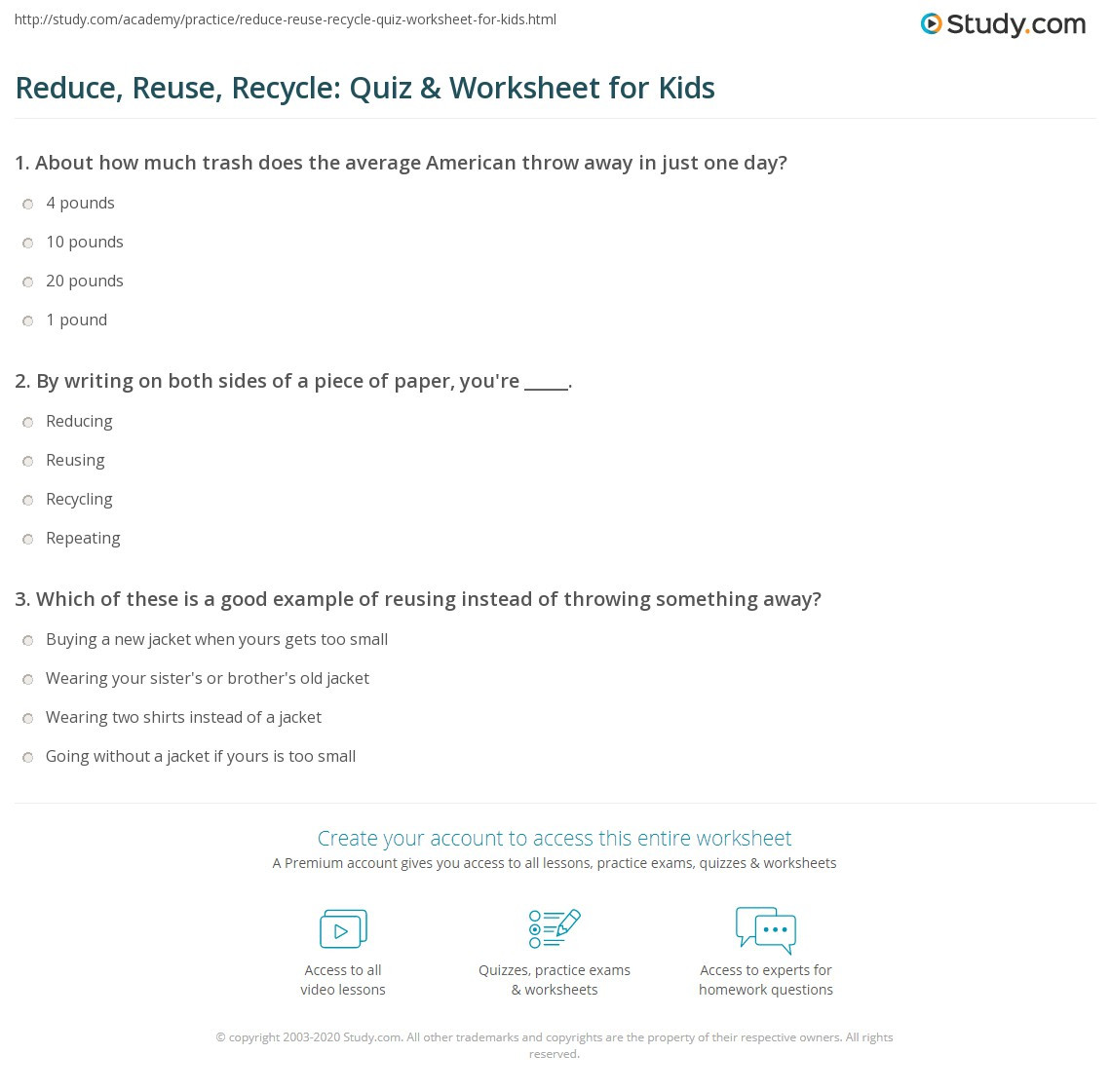 Recycling Worksheets for Preschoolers Reduce Reuse Recycle Quiz & Worksheet for Kids