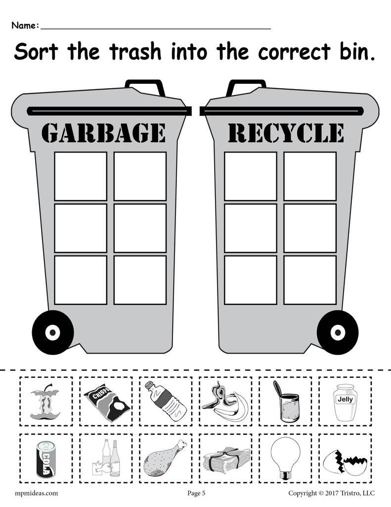 Recycling Worksheets for Preschoolers sorting Trash Earth Day Recycling Worksheets 4 Printable
