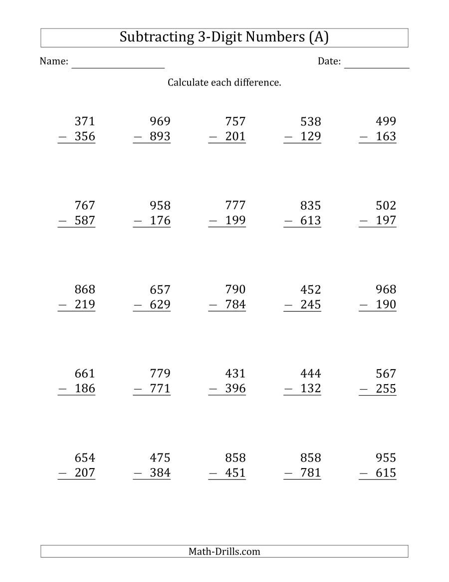 Regrouping Subtraction Worksheets 3rd Grade 3 Digit Minus 3 Digit Subtraction A