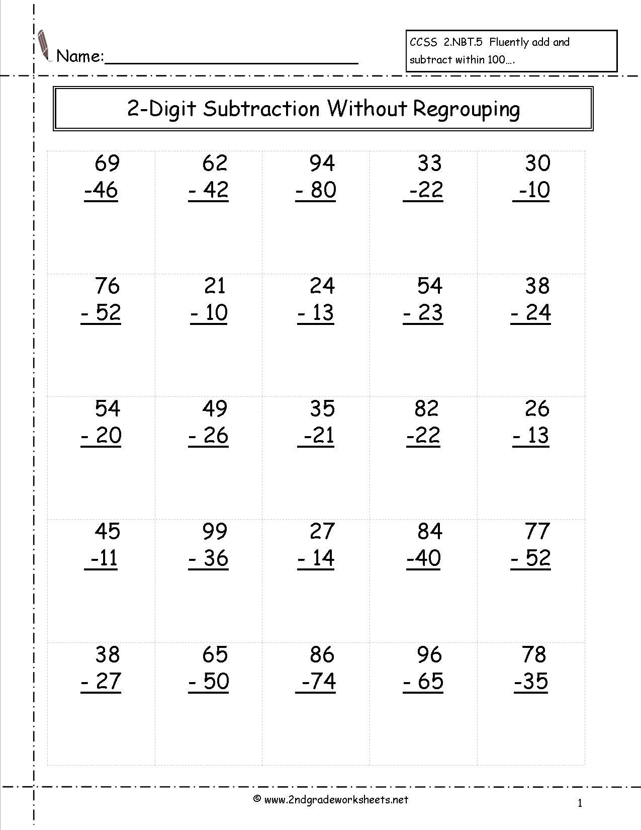 Regrouping Subtraction Worksheets 3rd Grade Two Digit Subtraction without Regrouping Worksheet