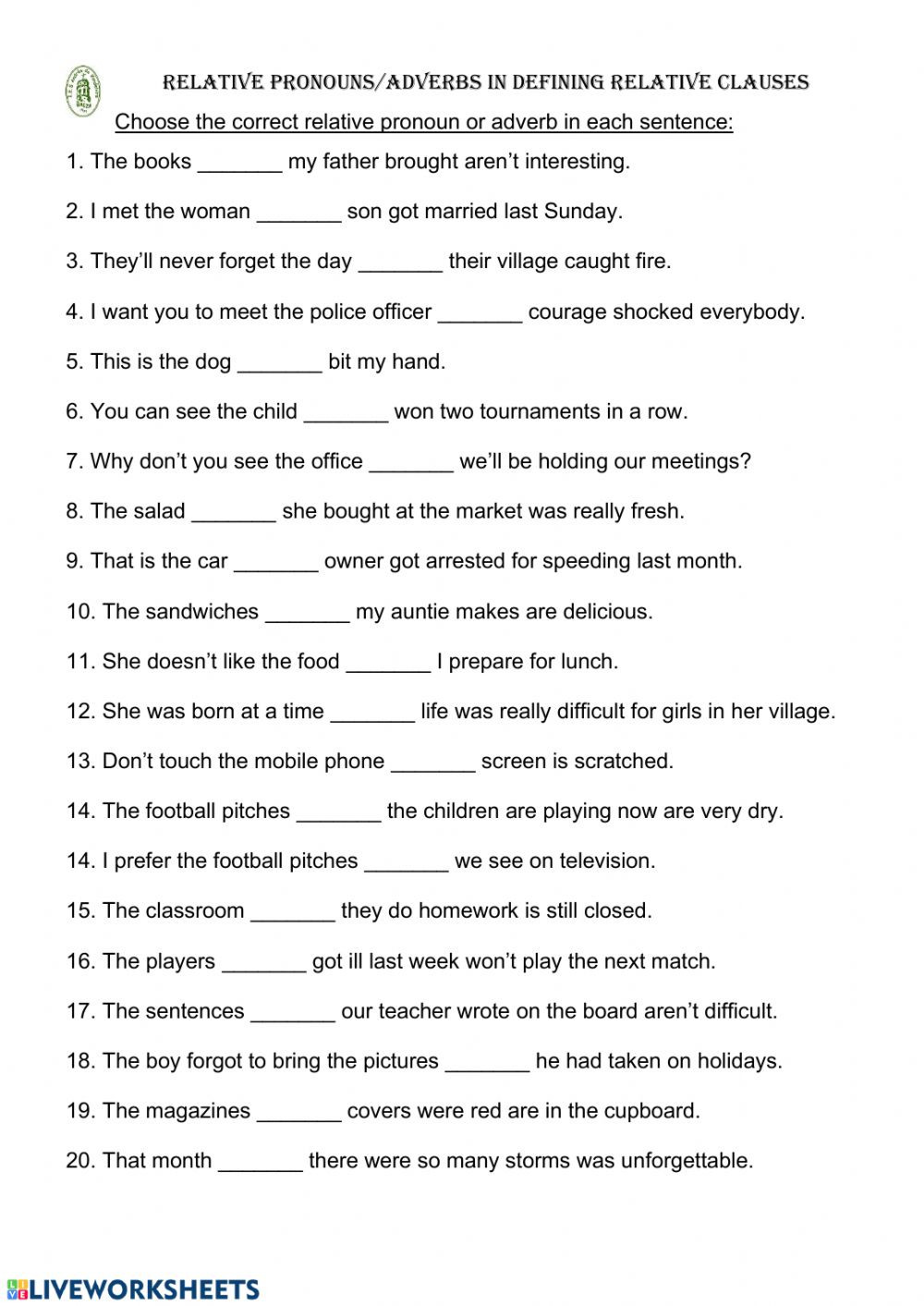 Relative Pronouns Worksheet Grade 4 Relative Pronouns Adverbs Interactive Worksheet