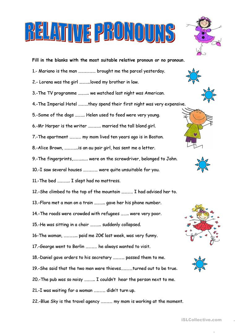 Relative Pronouns Worksheet Grade 4 Relative Pronouns English Esl Worksheets for Distance