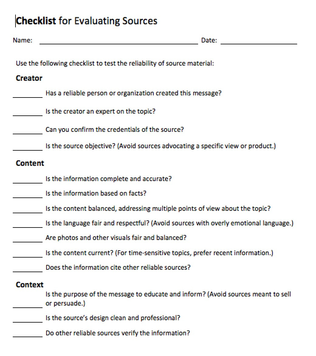 Reliable sources Worksheet Middle School Evaluating sources Of Information