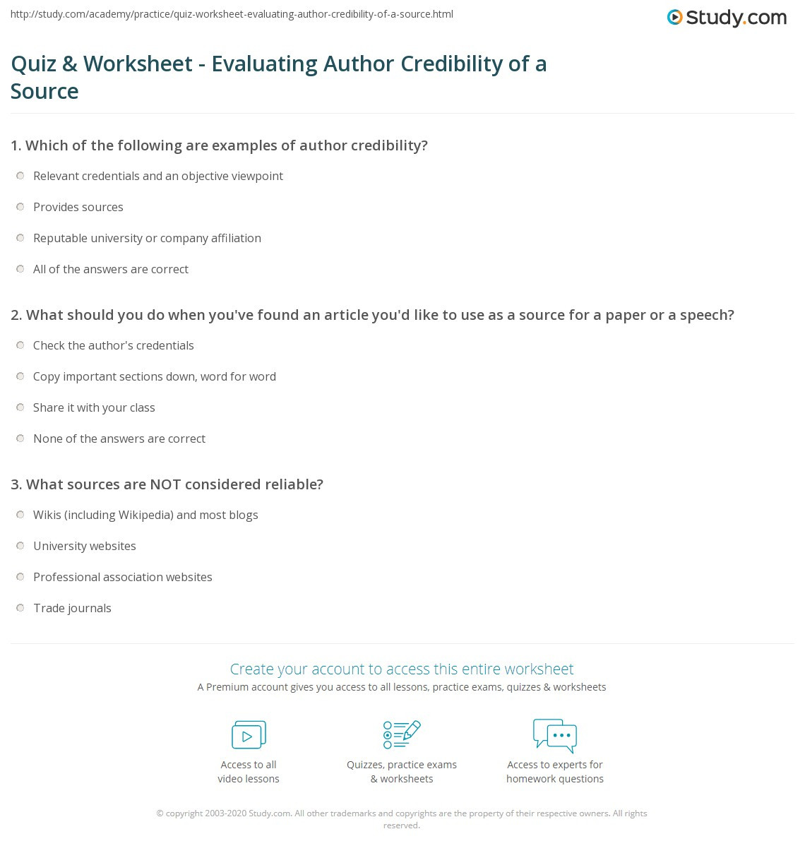 Reliable sources Worksheet Middle School Quiz & Worksheet Evaluating Author Credibility Of A source
