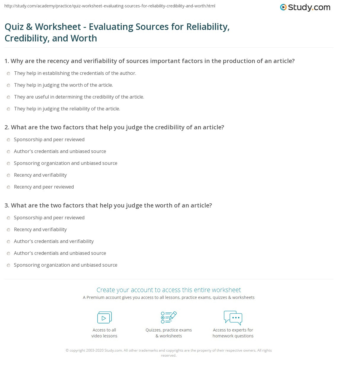 Reliable sources Worksheet Middle School Quiz & Worksheet Evaluating sources for Reliability