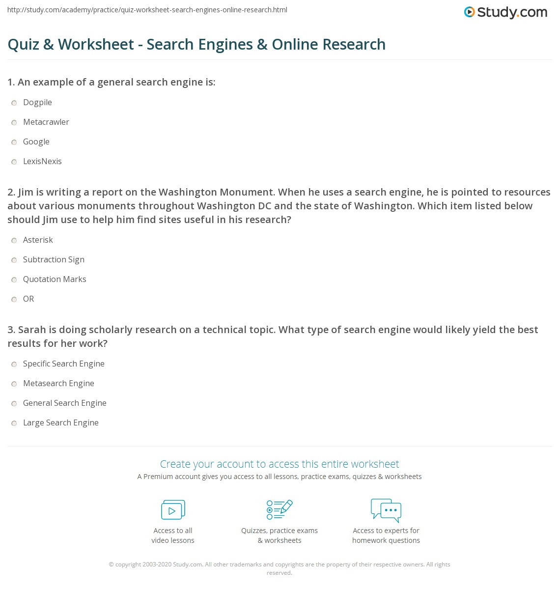 Reliable sources Worksheet Middle School Quiz & Worksheet Search Engines & Line Research