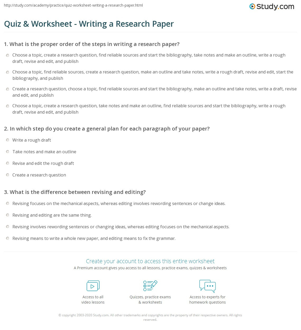 Reliable sources Worksheet Middle School Quiz & Worksheet Writing A Research Paper