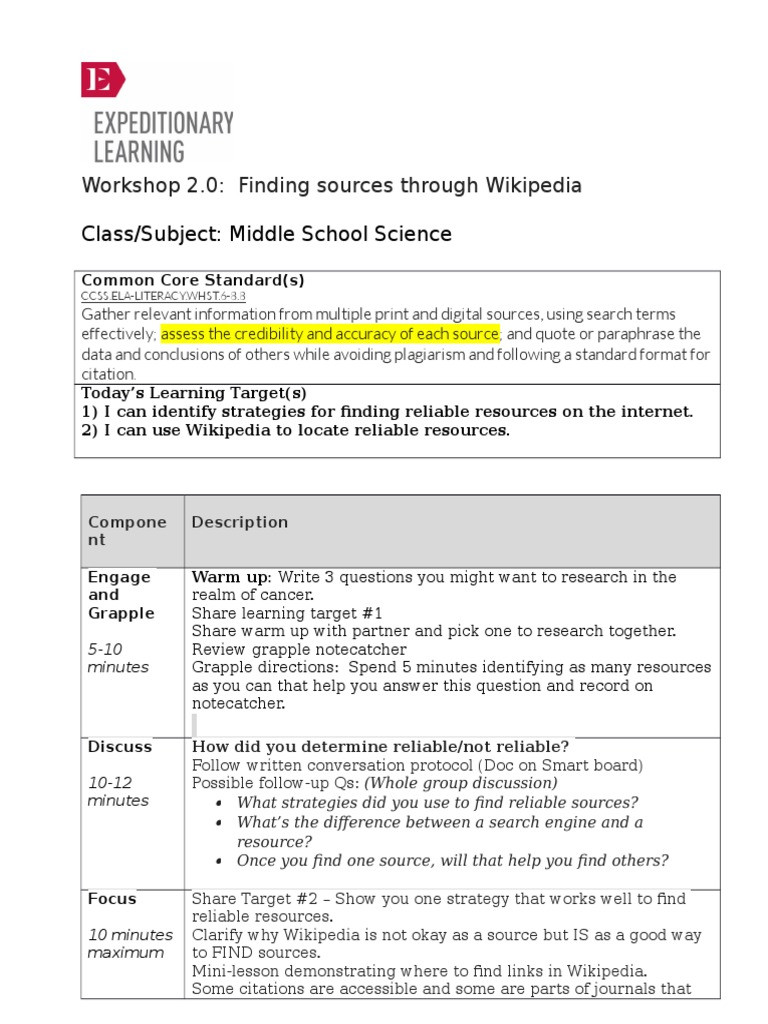 Reliable sources Worksheet Middle School Workshop 2 0 Finding sources Through Class