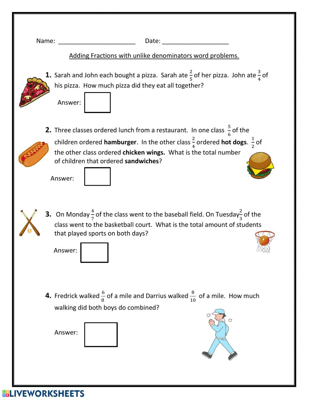 Restaurant Math Worksheets Adding Fractions with Unlike Denominators Interactive Worksheet