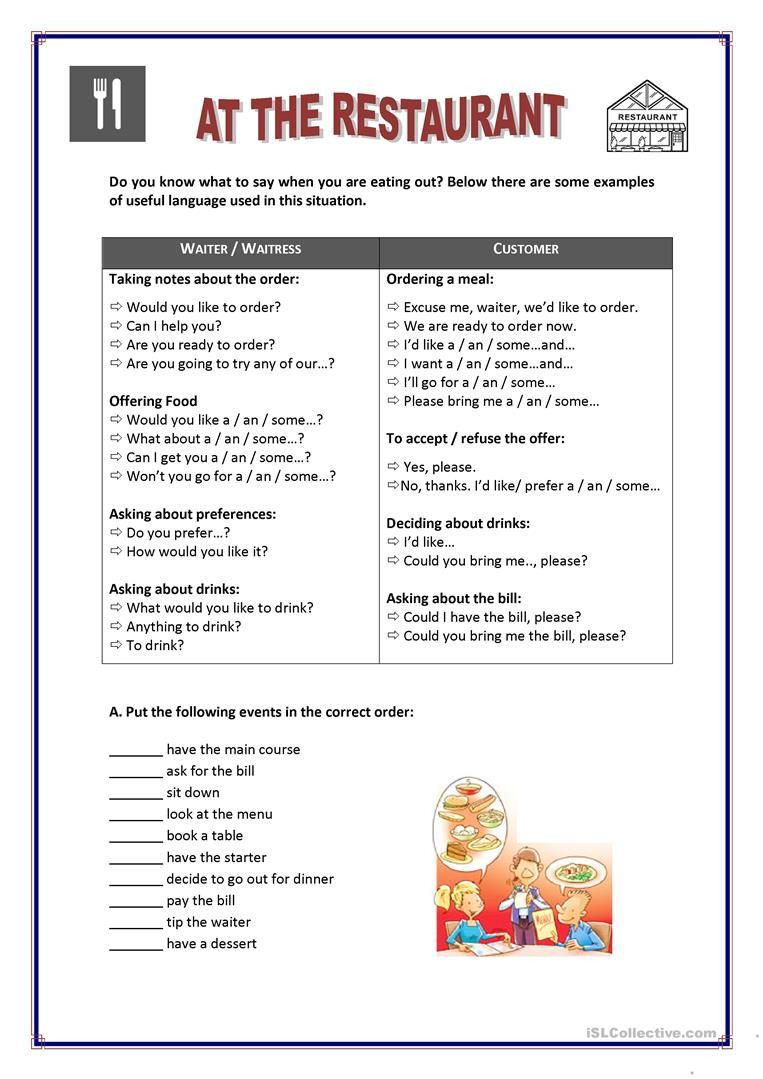 Restaurant Math Worksheets at the Restaurant Learn English Classroom Lessons Learning