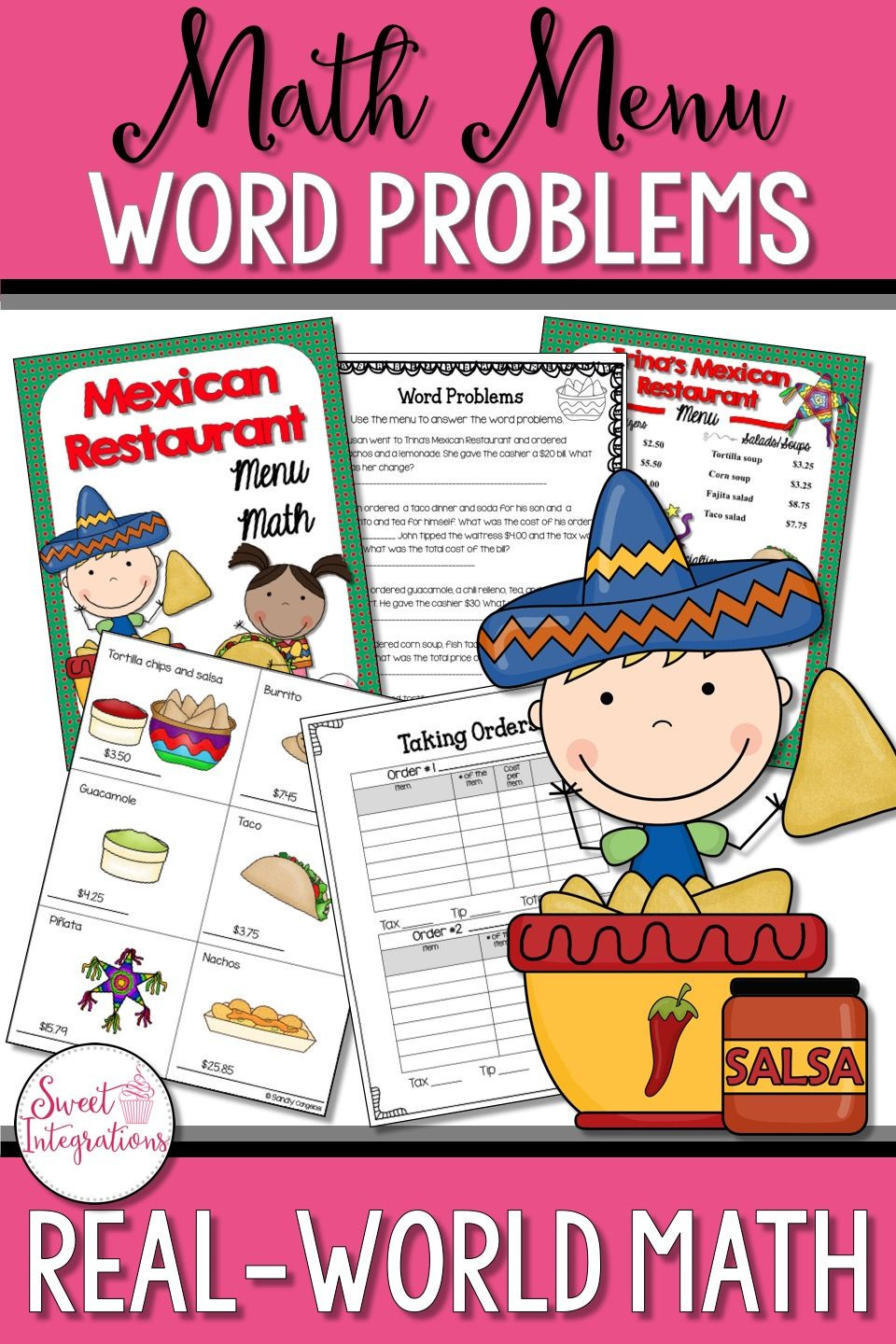 Restaurant Math Worksheets Math Restaurant Menu Mexican Restaurant